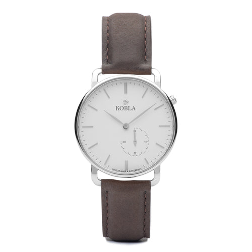 Silver Case / White Dial / Brown Leather