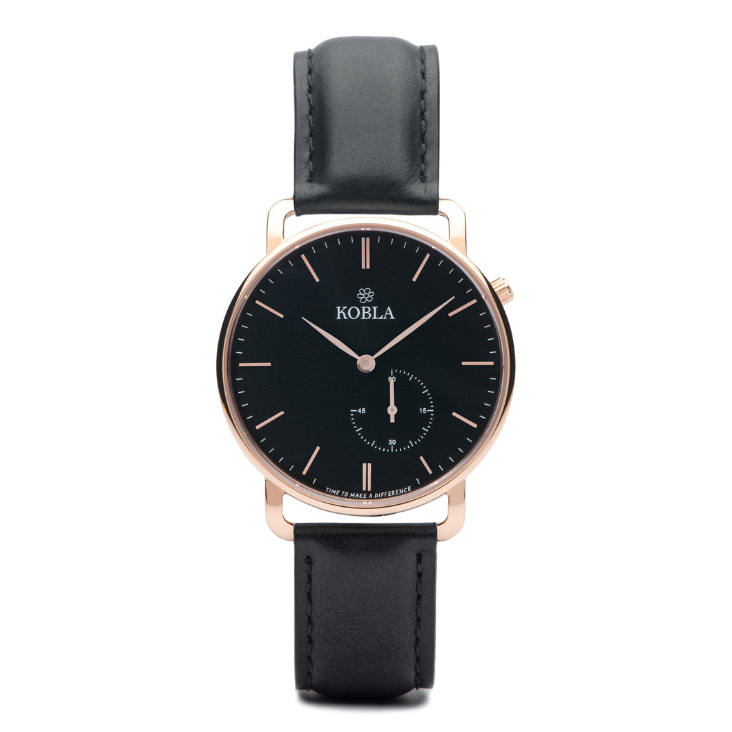 Rose Golden Case / Black Dial / Black Leather