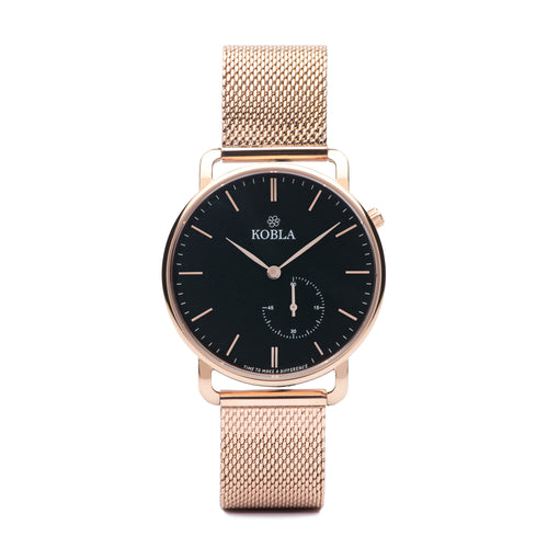 Rose Golden Case / Black Dial / Rose Gold Mesh
