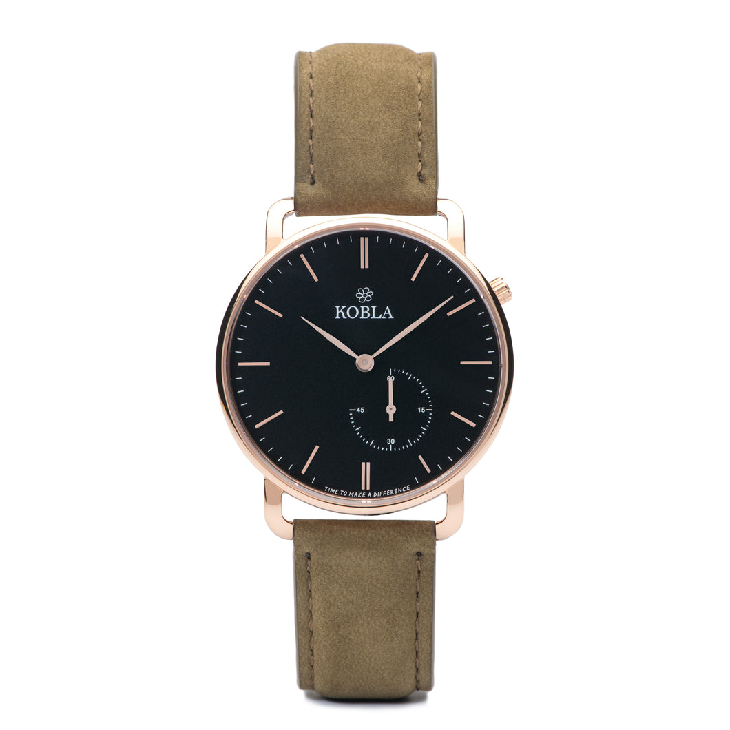Rose Golden Case / Black Dial / Khaki Suede Leather