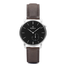 Silver Case / Black Dial / Brown Leather