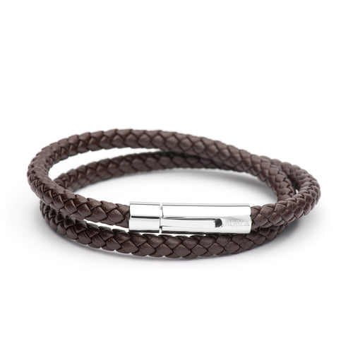 Brown Leather Bracelet - Double Strap