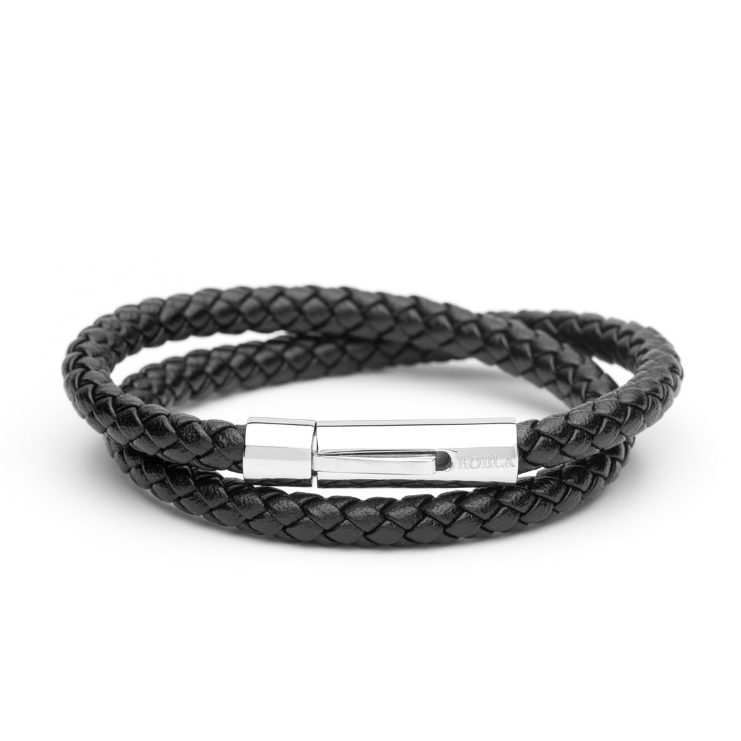 Black Leather Bracelet - Double Strap