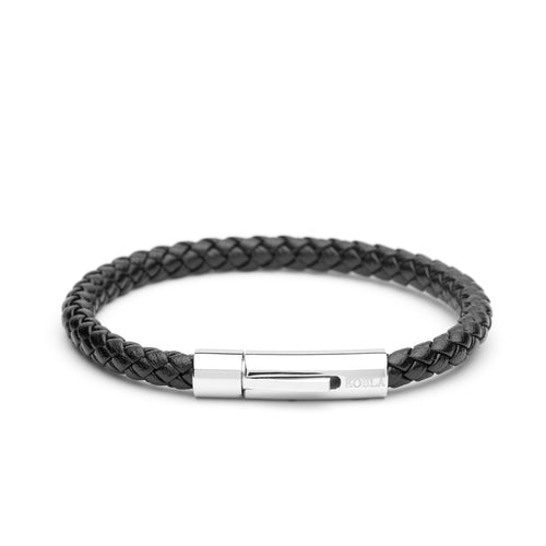 Black Leather Bracelet - Single Strap