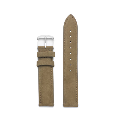 Khaki Suede Leather / Silver Buckle