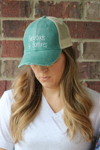 Backroads & Bonfires Distressed Hat - 8 Colors! - Glittering South
