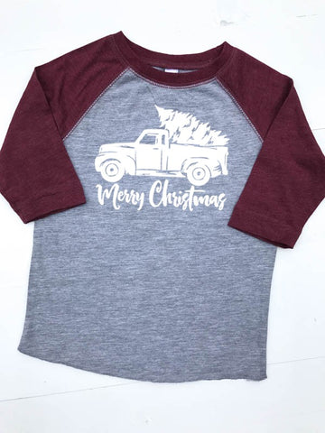 Toddler Raglan Merry Christmas Truck - Glittering South