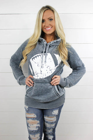 Distressed Football Vintage Fleece Hoodie - Glittering South