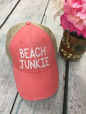Beach Junkie Distressed Hat - 8 Colors! - Glittering South