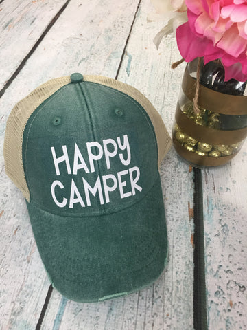 Happy Camper Distressed Hat - 8 Colors! - Glittering South