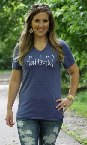 Faithful V Neck Tee - Glittering South