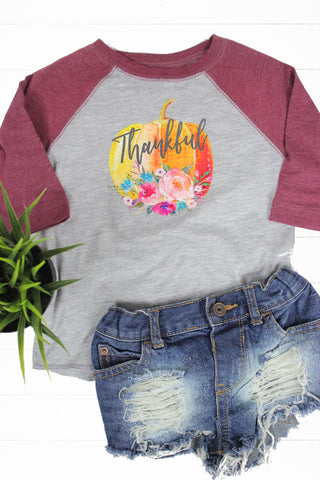Thankful Pumpkin Toddler Raglan - Glittering South