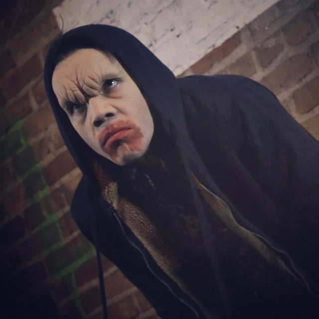"'Skeeter' the vampire: Makeup application by Acrotomic Studios for Fighting Owl Films' ""Full Moon, Inc."""