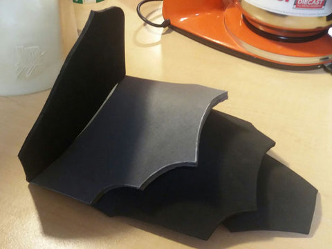 Foam pauldron pieces cut out and shaped