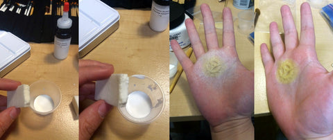 Layer of adhesive over latex prosthetic