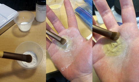Powdering prosthetic after adhesive