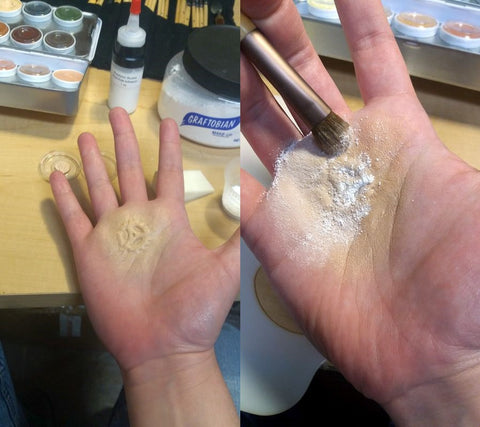 Base skin tone makeup color over prosthetic