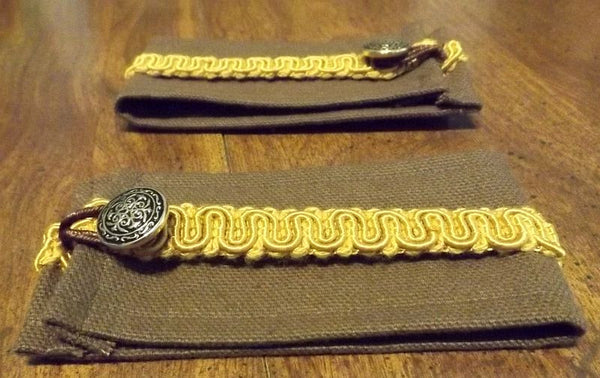 Victorian style Wrist Cuffs - gold and brown