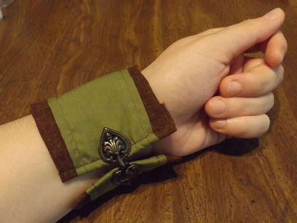 Victorian style Wrist Cuffs - green and brown