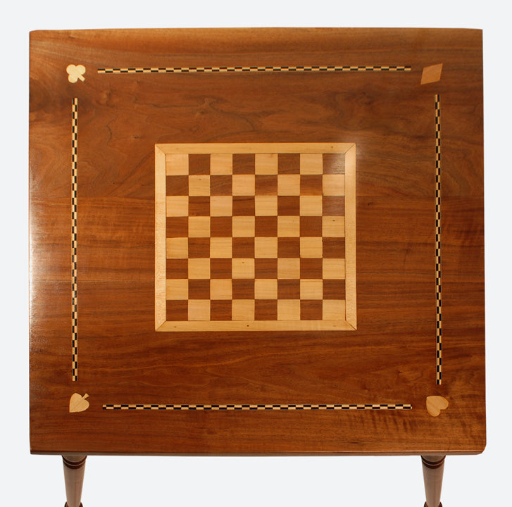 ... 1825 1840 Federal Folk Art Game Table Walnut U0026 Maple Chess Card Table  ...