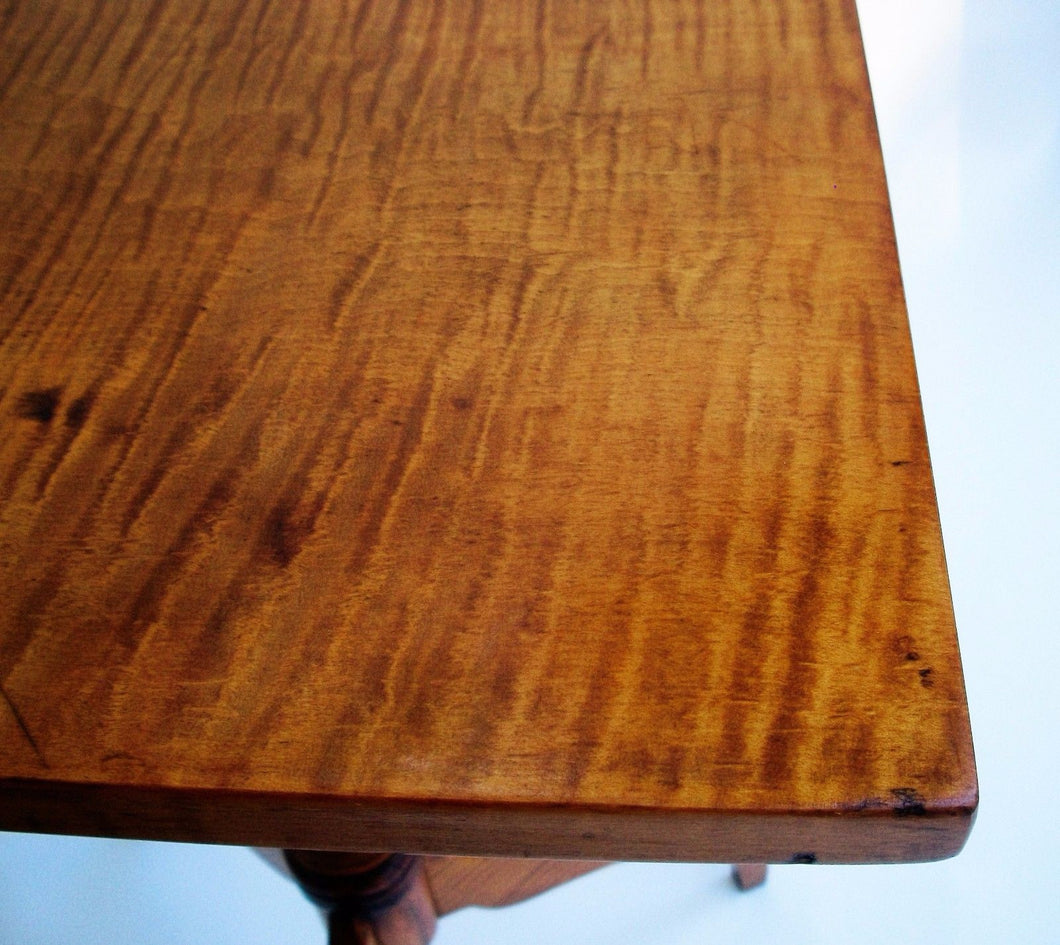 1750 Tiger Maple Candle Stand Federal Furniture Stahl Antiques