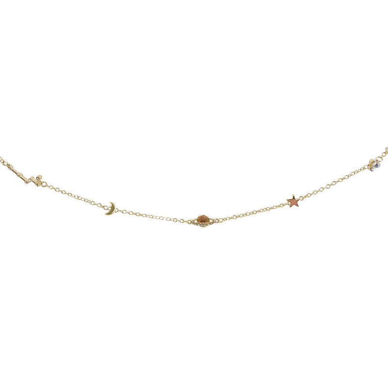 Dainty Gold Choker Necklace, Cosmic