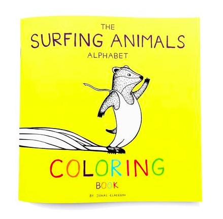 The Surfing Animals Alphabet COLORING Book by Jonas Claesson