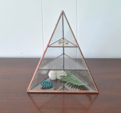 Glass Pyramid Jewelry Display Case