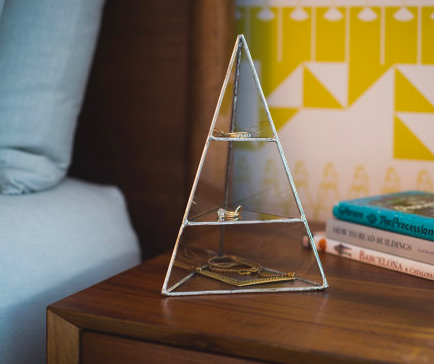 Medium Glass Pyramid Jewelry Display Case