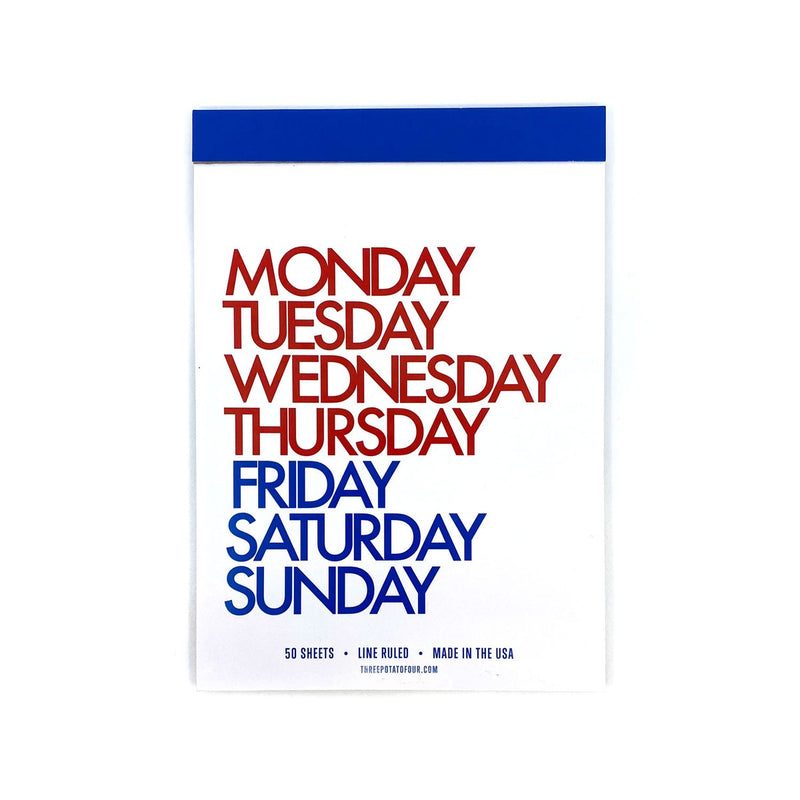 TABLET NOTEPAD - DAYS OF THE WEEK