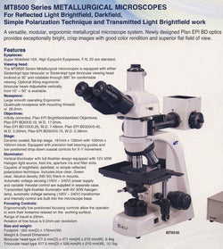 Meiji Techno MT8500 Metallurgical Upright Refl & Trans BF/DF Microscope