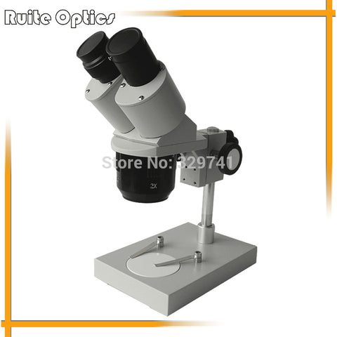 20x- 40x Rack Pinion Coarse Focusing Mechanism Binocular Low-Price Stereo Microscope with Fluorescent Ring Light for Circuit Maintenance