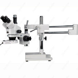 Boom Zoom Microscope-AmScope Supplies 3.5X-45X Trinocular Low-Price Stereo Boom Zoom Microscope + Fluorescent Light