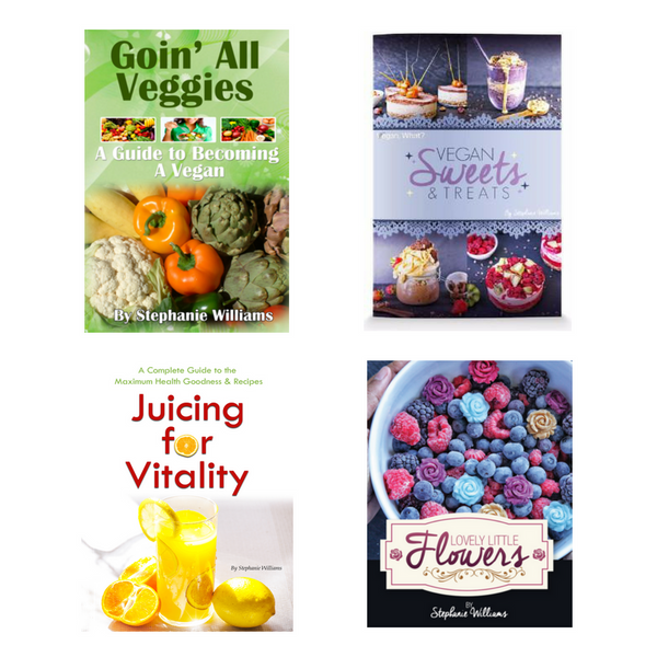 4 eBook Bundle Vegan Sweets & Treats, Goin' All Veggies, Lovely Little Flowers, & Juicing for Vitality