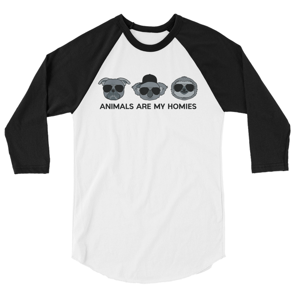 Animals are My Homies - Unisex 3/4 sleeve raglan shirt