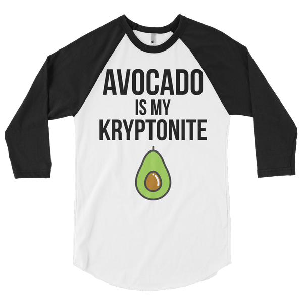 Avocado Is My Kryptonite - 3/4 sleeve Raglan Shirt