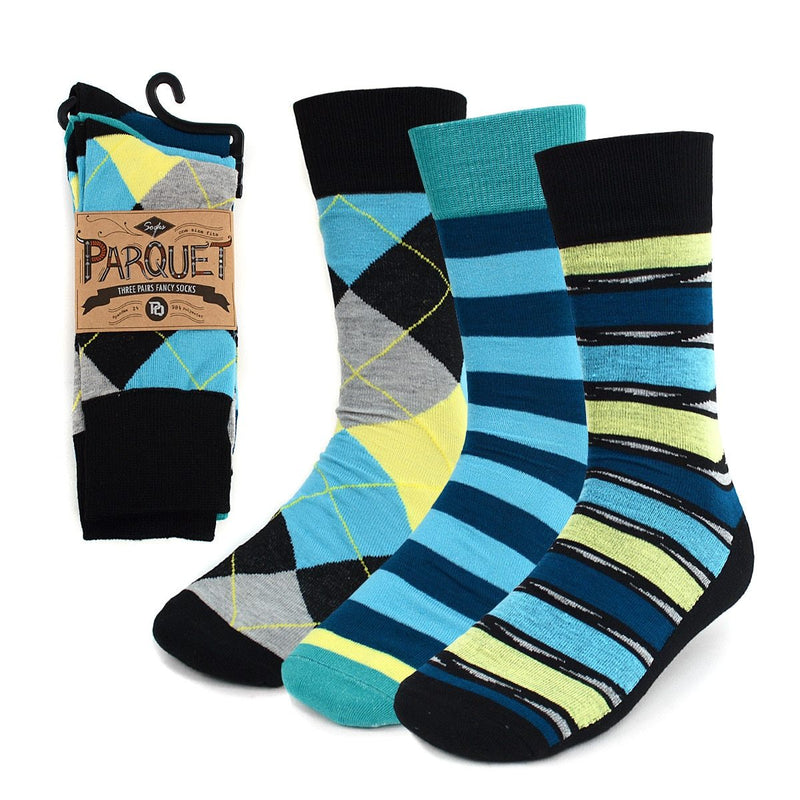 Parquet - Men's 3-Pair Turquoise Casual Dress Socks