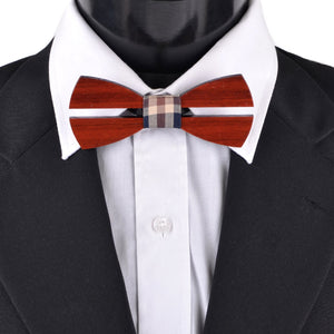 Wooden Bow Tie with Plaid Fabric Centerpiece