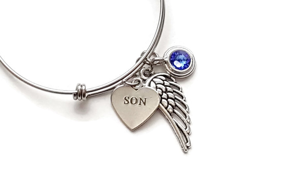 Memorial Bracelet for Loss of Son with Angel Wing and Birthstone - Remember Me