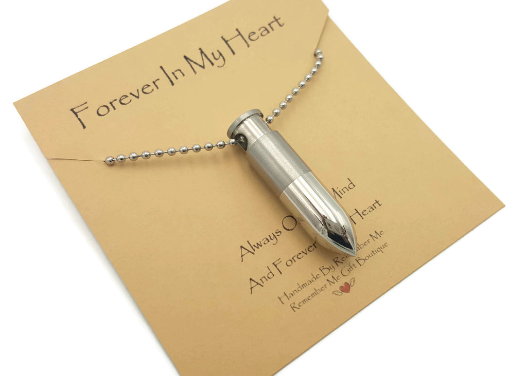 Bullet Necklace for Ashes - Stainless Steel Cremation Jewelry - Remember Me