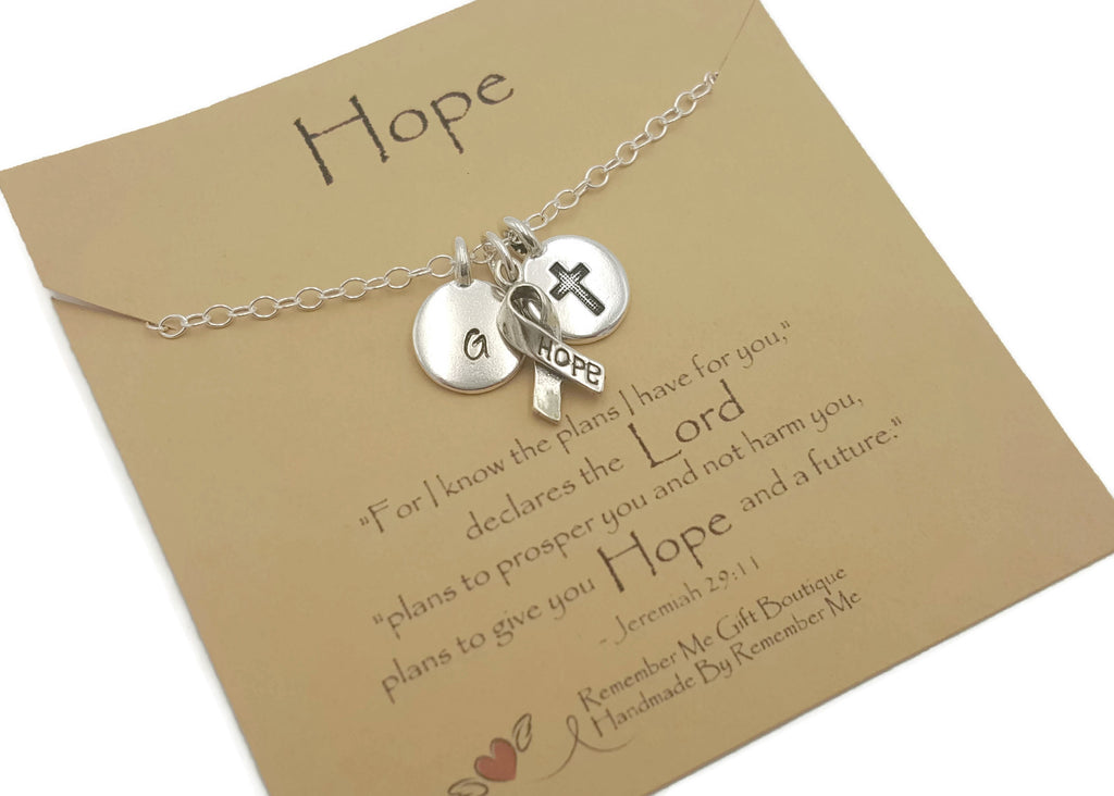 Sterling Silver Hope Necklace, Hope Gifts - Bible Verse Jewelry Jeremiah 29:11 - Free Shipping - Remember Me