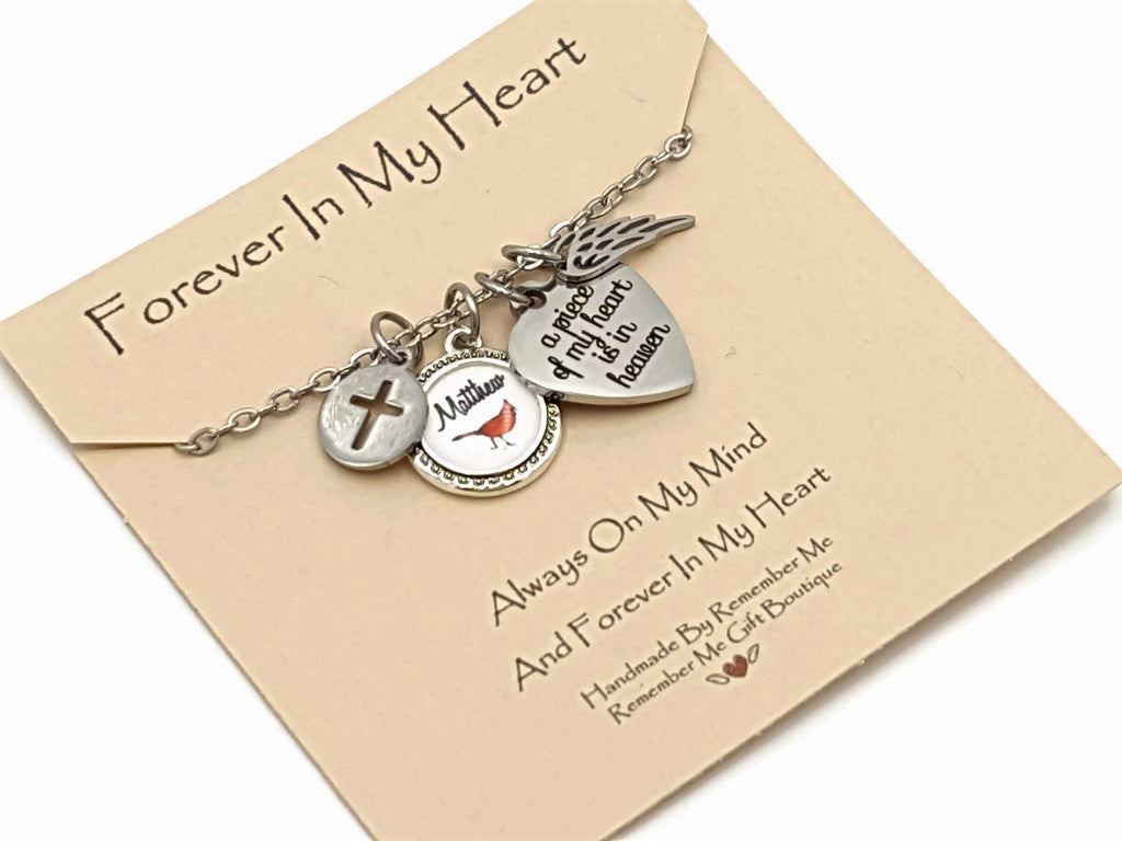 Personalized Memorial Jewelry, Cardinal Memorial, Remember Me Gifts - Remember Me