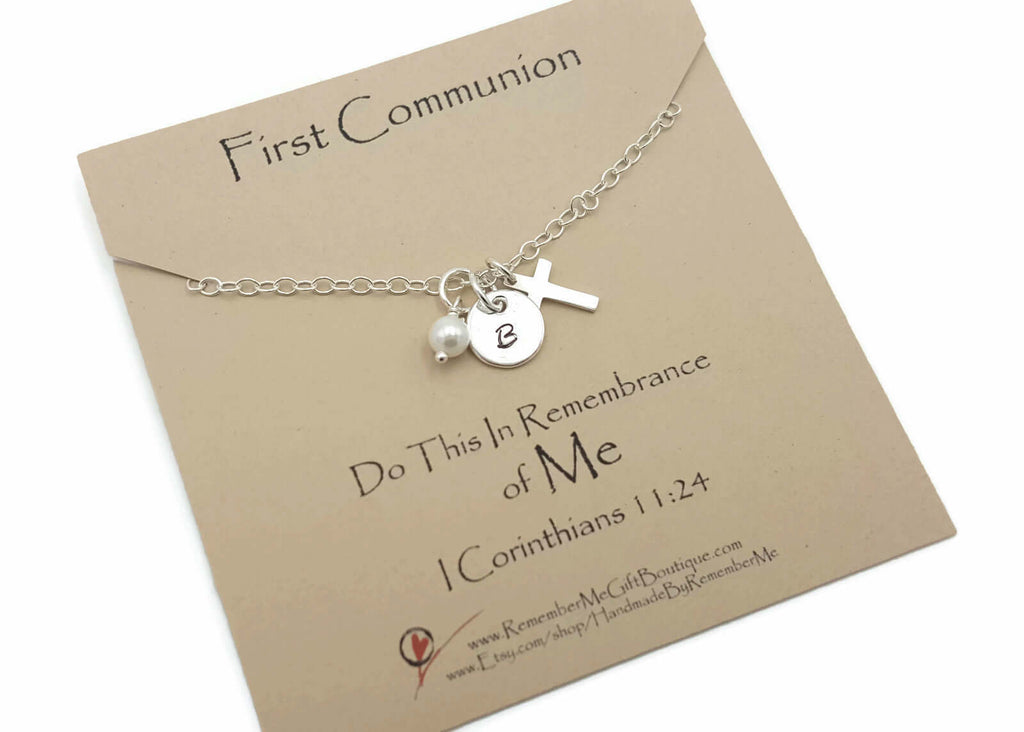 First Communion Necklace - First Communion Gift Ideas for Girls - Personalized Sterling Silver - Remember Me