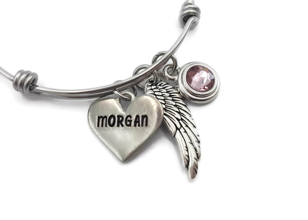 Stunning Personalized Memorial Bracelet, Angel Wing Bracelet with Birthstone - Remember Me