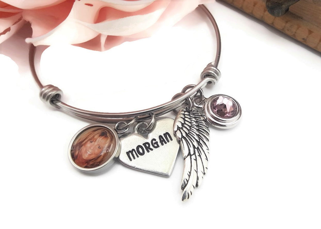 Personalized Memorial Bracelet, Photo Memorial, Angel Wing Birthstone - Remember Me