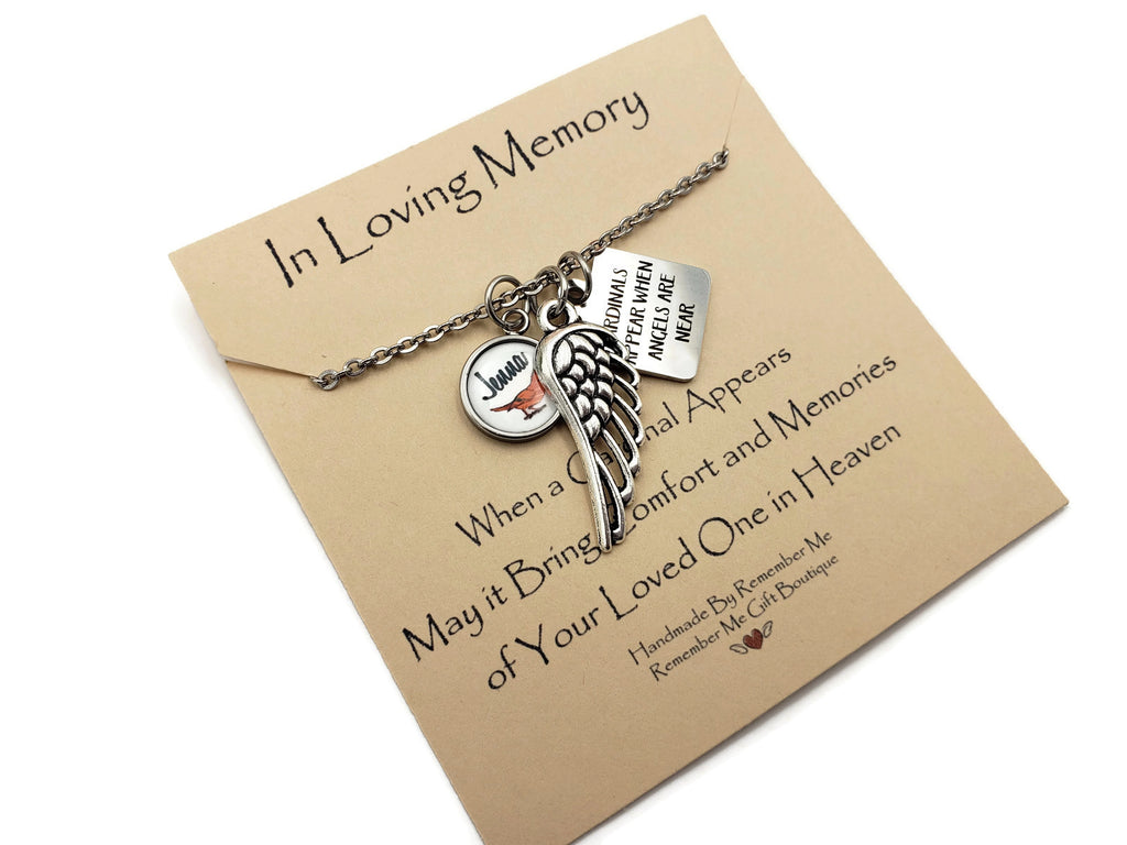 Cardinal Personalized Remembrance Necklace - Remember Me Gifts - Remember Me