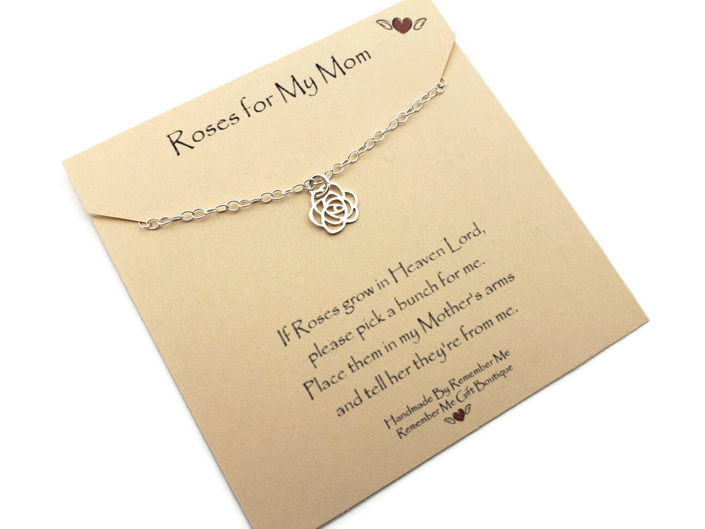 Do Roses Grow In Heaven Remembrance Necklace - Remember Me Jewelry - Remember Me