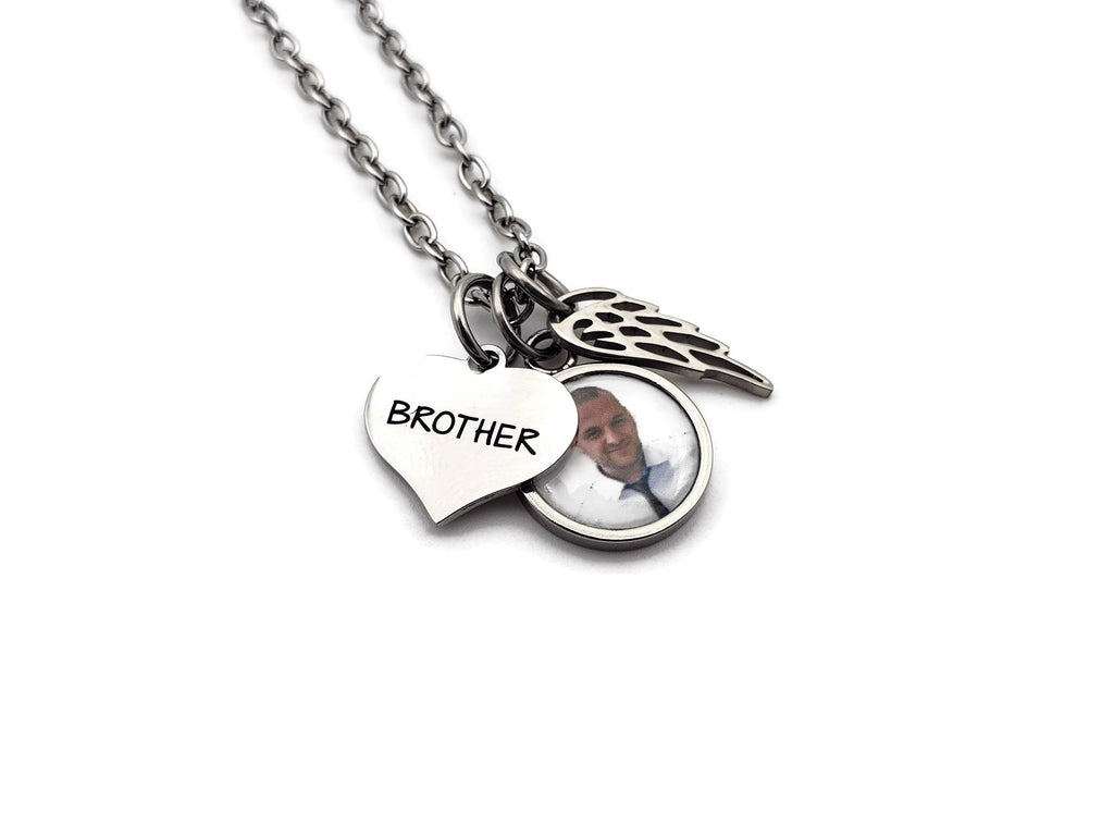 Loss of Brother Photo Memorial Necklace