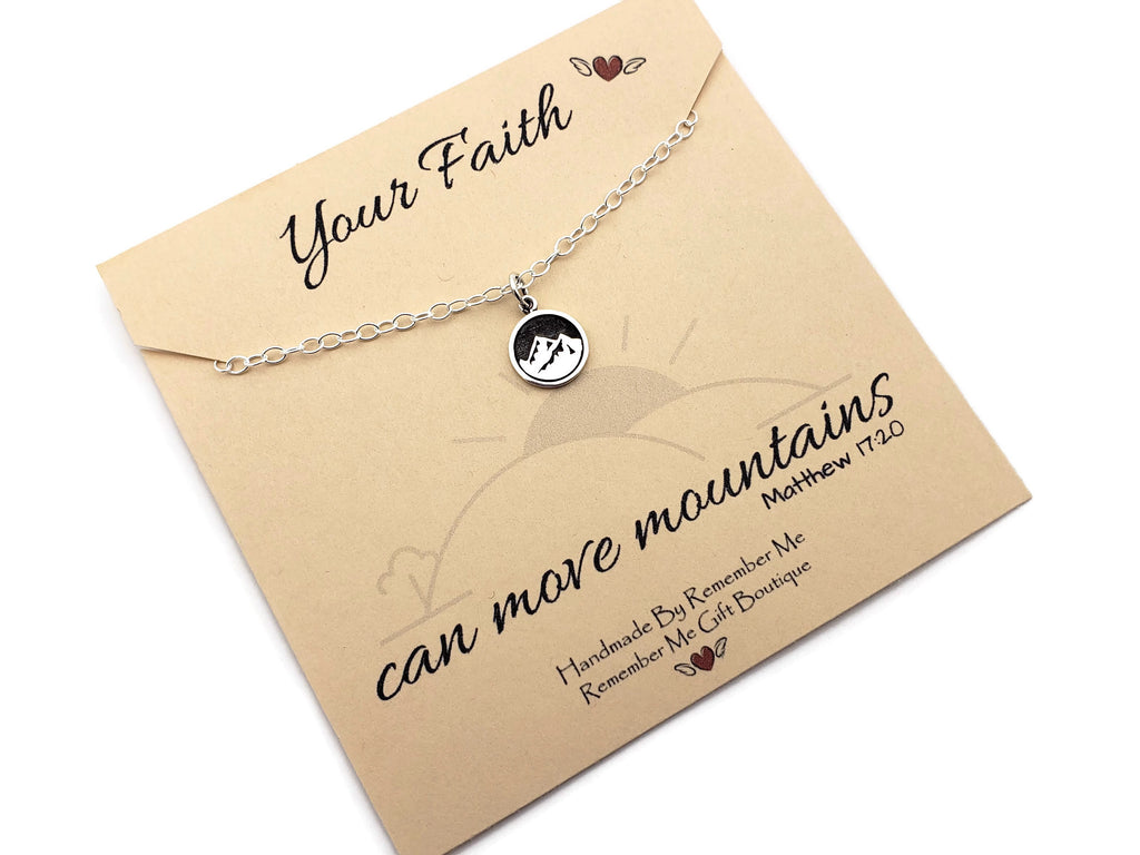 Christian Jewelry for Women - Move Mountains - Scripture Necklace - Remember Me