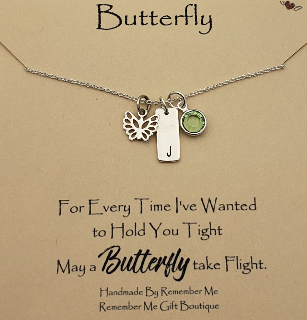 Butterfly In Memory Of Necklace Personalized with Birthstone - Remember Me Jewelry - Remember Me